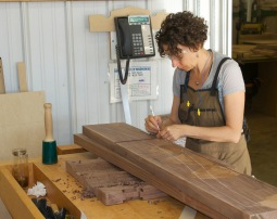laying out parts for a rocking chair