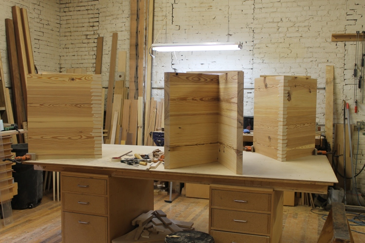 gluing up the mitered panels into their final shape